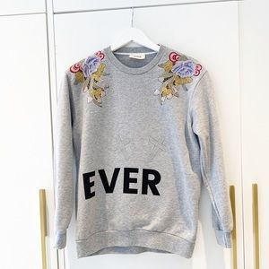 Sweatshirt with embroidery and crystals from Italy